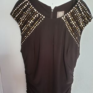 Vince Camuto Black Studded Gown